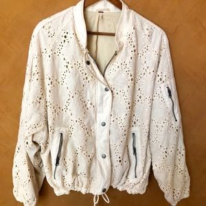 Free People cotton lace bomber